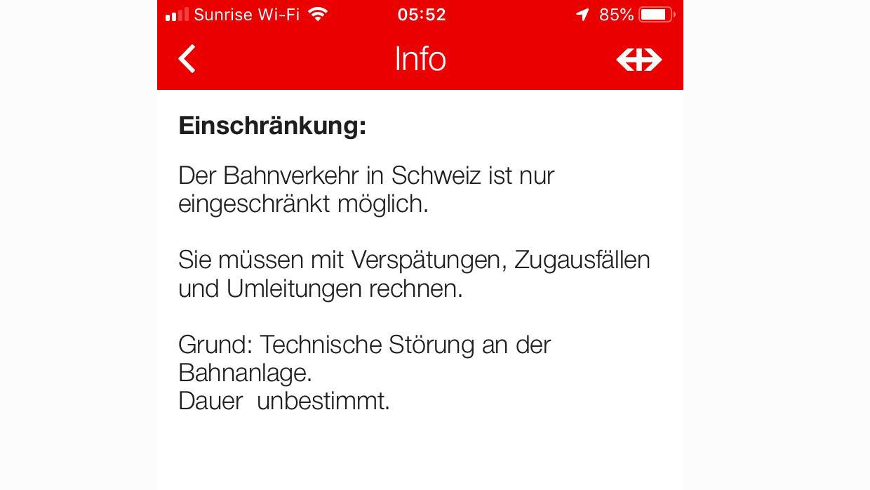 Bei der SBB kommt es in der ganzen Schweiz zu Verspätungen und Zugausfällen.