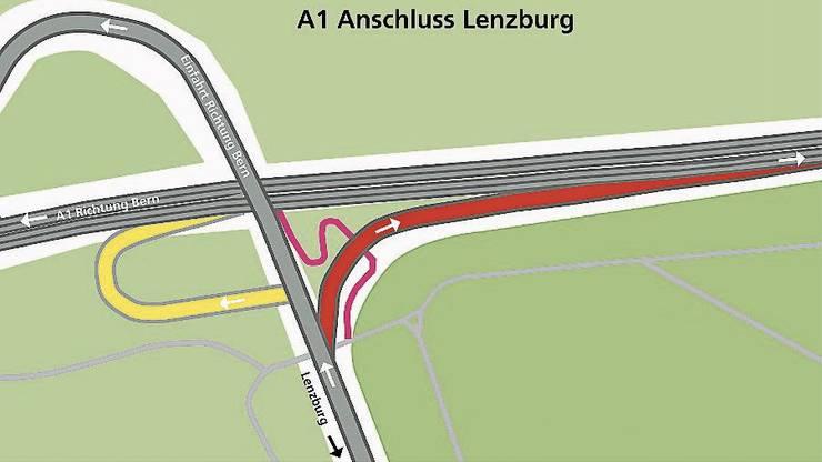 Die neue Autobahneinfahrt Richtung Zürich (rot).