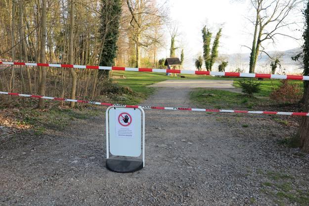 Zutritt verboten: die Badi Brestenberg am Hallwilersee.
