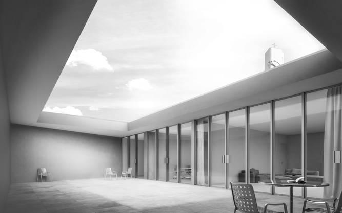 Der Innenhof im Dachgeschoss habe gleichzeitig eine meditative und eine festliche Ausstrahlung