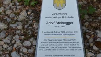 Der Gedenkstein für den ermordeten Holzhändler Adolf Steinegger bei Wehr.