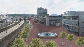 Diese Visualisierung zeigt, wie in Brugg mit dem Oase-Projekt der Raum über dem eingedeckten Neumarkt-Knoten aufgewertet werden könnte. Bild: zvg