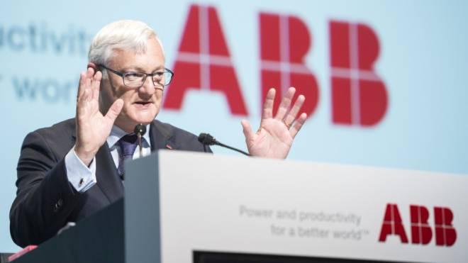 Gab die Richtung vor: Peter Voser (58) an der Generalversammlung der ABB diese Woche. Foto: Keystone/Ennio Leanza