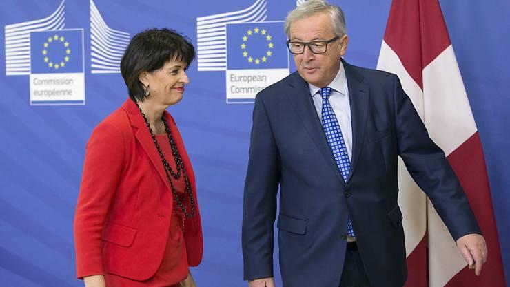 Im letzten April haben sich Bundespräsidentin Doris Leuthard und EU-Kommissionspräsident Jean-Claude Juncker in Brüssel getroffen. Am Donnerstag kommt Juncker nun nach Bern. (Archivbild)
