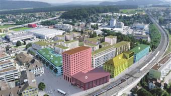In den Gebäuden A und B hat es per sofort freie Kapazitäten fürs Gewerbe, Gebäude C ist per 2017 und Gebäude D per 2018 bezugsbereit.