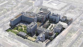 Das neu zu bebauende Industrie-Geviert «Rosental Mitte» soll für bis zu 2200 Personen Wohnraum bieten. (Visualisierung)