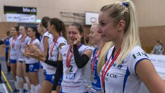 Enttäuschung pur: Grosse Emotionen bei den Spielerinnen von Sm'Aesch nach der Niederlage gegen Volero.