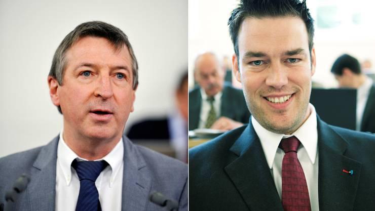 Peter Voser,links, will Zahler-Gemeinden zwei Jahre entlasten, während Christoph Riner einmalig 35 Millionen für die Schuldentilgung beantragt.