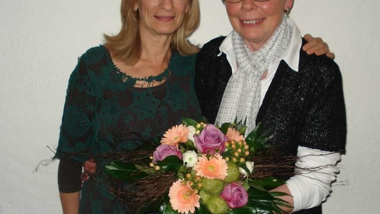 Neue Vize-Präisidentin Antoinette Fehr und ausscheidende Vze--Präsidentin Aloisia Schmidli (Rechts im Bils)