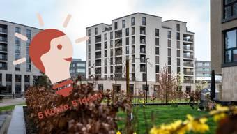 Ein Industrieareal wurde in ein kleines Stück Stadt mit Wohnungen, Büros und Restaurants verwandelt. Das Aeschbachquartier in Aarau.