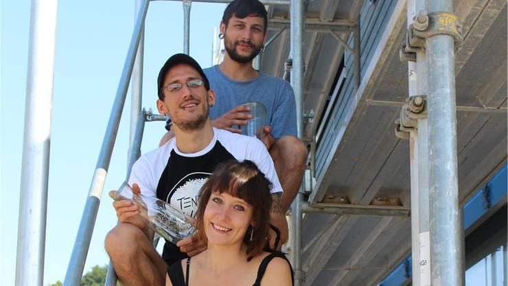 Dave Frey, Michele Pizzera und Marlène Karpf (von oben) eröffnen bald den Laden.