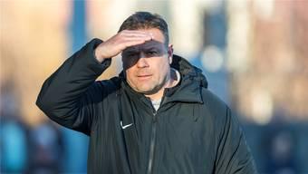 Nach dem denkwürdigen 3:3 gegen Servette blickt Aarau-Trainer Patrick Rahmen den Spielen in Lausanne und Winterthur optimistisch entgegen. Freshfocus