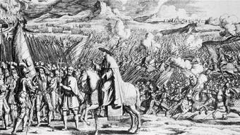Marignano 1515: Der propäpstliche Kardinal Schiner (auf dem Pferd) feuert die Eidgenossen zur Schlacht an, die allerdings im Hintergrund bereits tobt. Kupferstich von Melchior Füssli 1713. Keystone