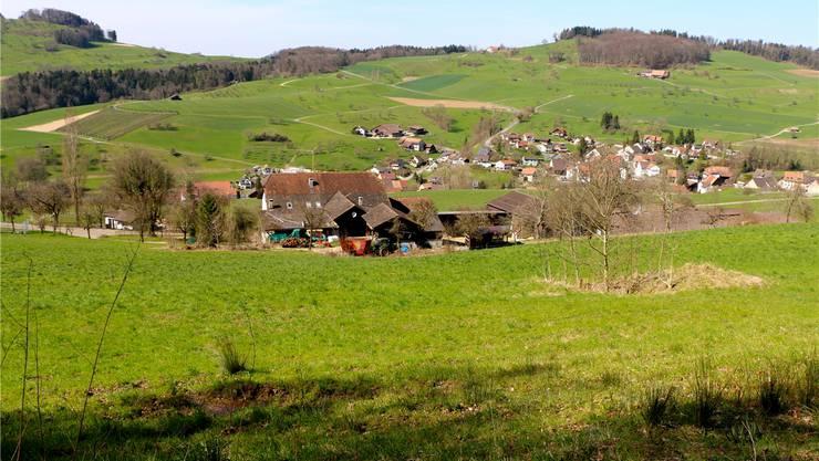 Im Vordergrund der Problemhang zwischen der Deponie am Wischberg und dem 100 Meter weiter unten liegenden Hof Maiberg (Bildmitte) in Hemmiken.