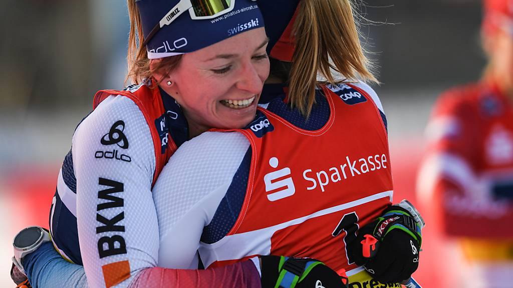 Darauf hoffen die Schweizer Fans: Jubel von Nadine Fähndrich (links) und Laurien van der Graaf
