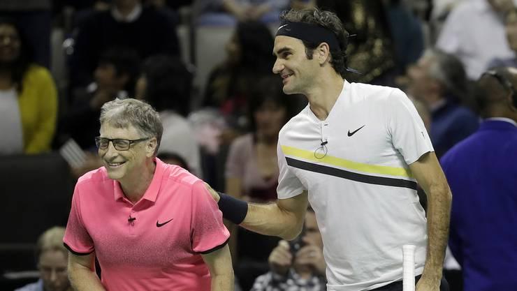 Bill Gates und Roger Federer gewannen ihr Doppel mit 6:3.