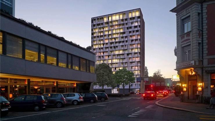 Blick aus der Stadtturmstrasse geplante 18-stöckige Wohnhochhaus (Vorprojekt)