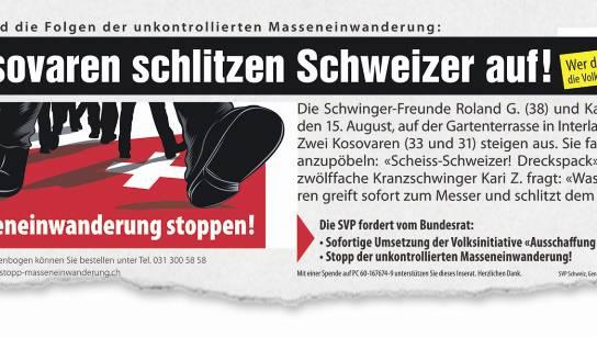 Das Inserat war bis Ende 2013 auf der Webseite der SVP Schweiz und auf jener der SVP-Initiative gegen Masseneinwanderung aufgeschaltet.