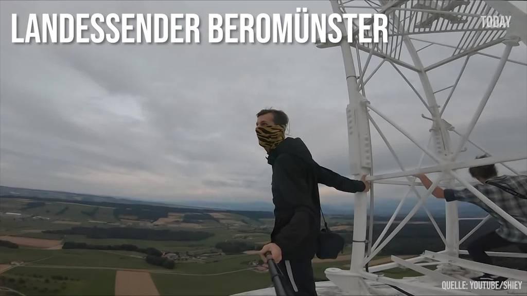 Youtuber klettern auf Landessender und Hammetschwand-Lift herum