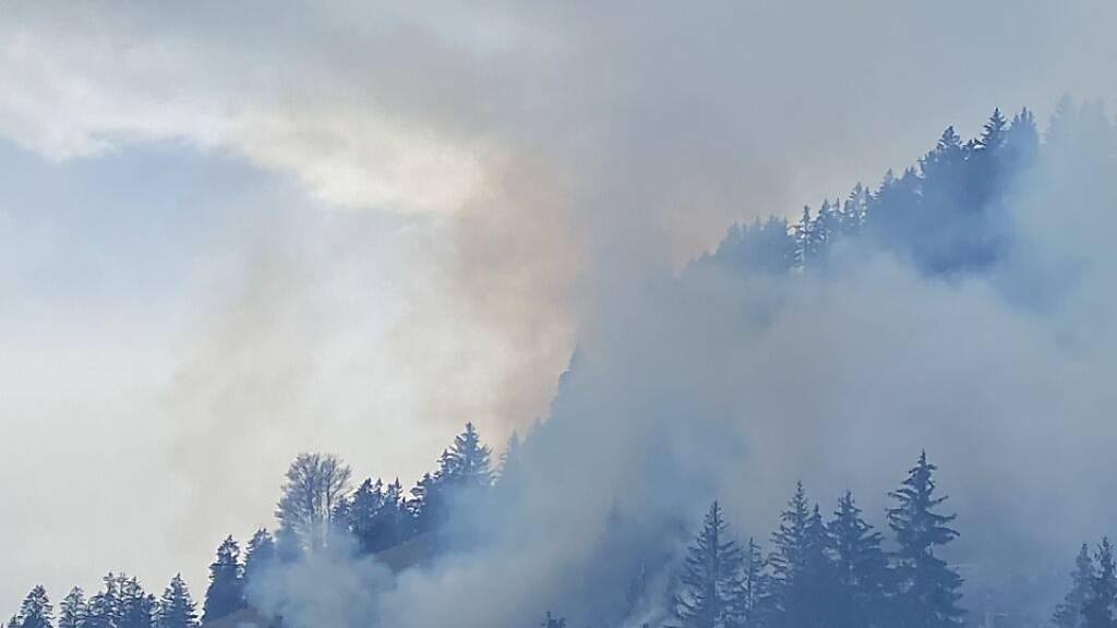 Waldbrand in Crésuz - Zwei Helikopter helfen bei Löscharbeiten