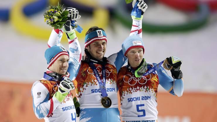Zweitplatzierter Marcel Hirscher, Slalom-Olympiasieger Mario Matt und drittplatzierter Henrik Kristoffersen (v.l.).