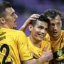 Schaffhauser Jubel: 1:0-Torschütze Arijan Qollaku (li.) freut sich mit seinen Teamkollegen über den Sieg
