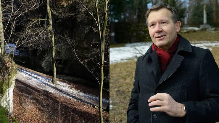 Autor Christof Gasser macht diese Felsnische in der Verenaschlucht zum Ort des Verbrechens.