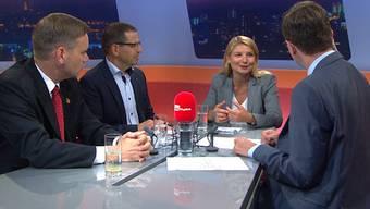 Esdiskututierten in der Sendung «TalkTäglich» am DienstagabendSVP-Grossrat Jean-Pierre Gallati,FDP-Präsident Matthias Jauslin und Headhunterin Sabine Kohler (v.l.).