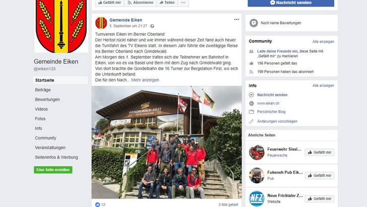 1: Die Gemeinde Eiken nutzt ihren Facebook-Auftritt aktiv.