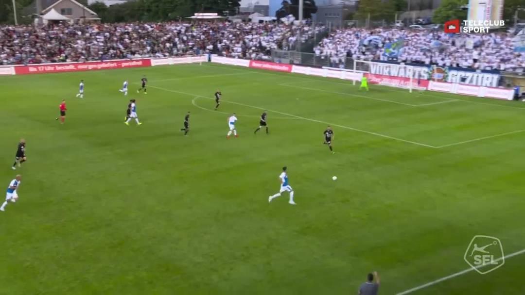 Challenge League, 2019/20, 3. Runde, FC Aarau – GC Zürich, 18. Minute: Pfostenschuss von Roberto Alves.