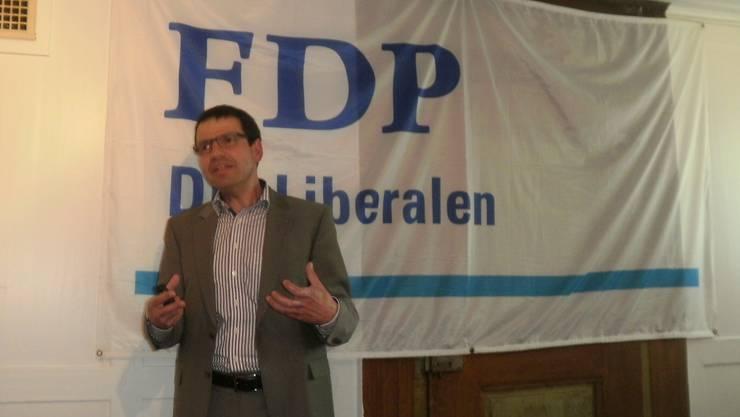 Kantonalparteipräsident Matthias Jauslin überzeugte mit einem Referat  zu aktuellen Themen und liberalen Grundwerten
