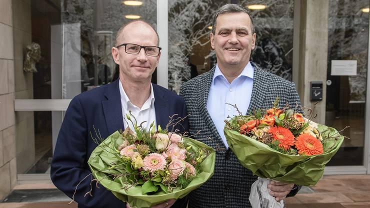 Guido Vogel (SP, links) und Felix Wehrli (SVP) freuen sich über ihre Resultate bei der Nachwahl.