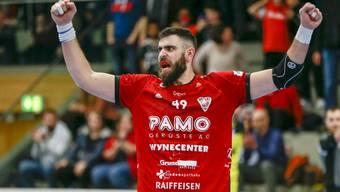Impressionen von der Partie des HSC Suhr Aarau gegen St. Otmar St. Gallen