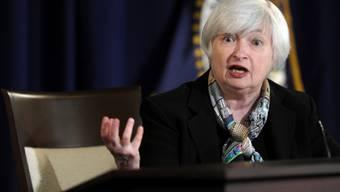 Fed-Chefin Janet Yellen vor den Medien in Washington