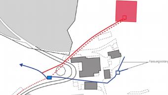 Die neue Fassung mit der Brunnstube (rot) der Sebletenquelle. Blau gekennzeichnet ist die alte Leitung