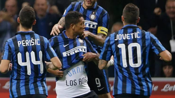 Derby-Jubel bei Inter dank Guarin (Mitte)