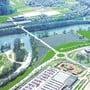 Die Fotomontage zeigt den ungefähren Standort der Rheinbrücke mit Blick von der deutschen Seite über den Rhein.