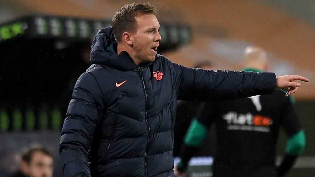 Trainer Julian Nagelsmann braucht mit RB Leipzig gegen Manchester United einen Sieg, um in die K.o.-Phase der Champions League einzuziehen