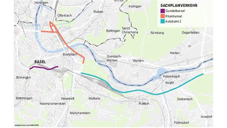 Im Gegensatz zum Nutzen des Rheintunnels haben die Basler Behörden jenen des Gundelitunnels lange angezweifelt.