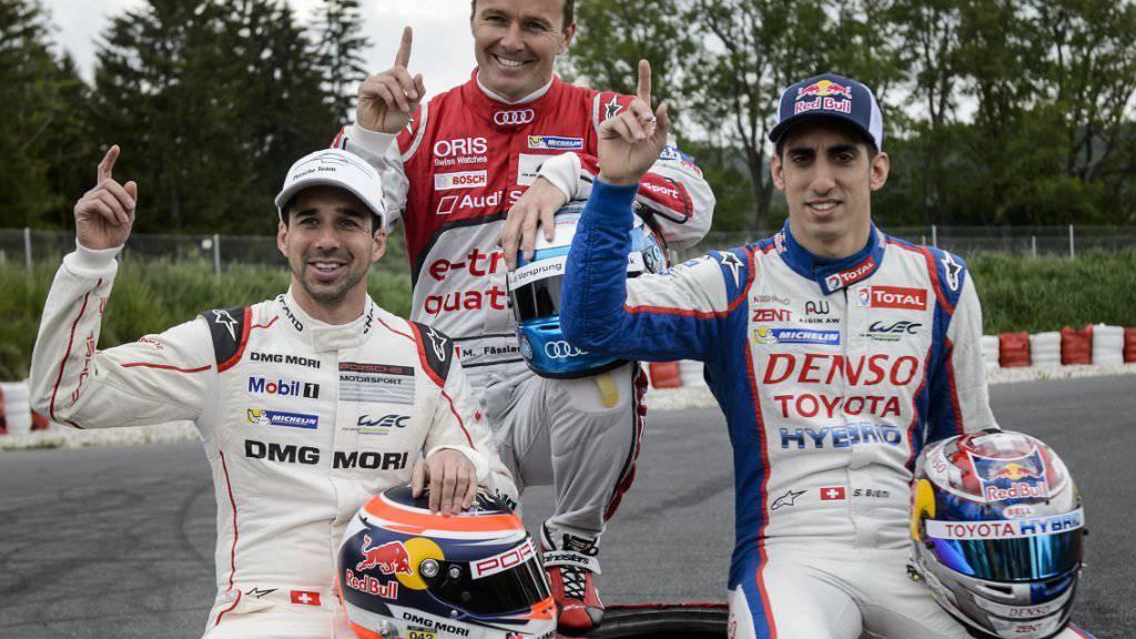 Neel Jani (links) triumphierte in Bahrain vor Marcel Fässler (Mitte), Sébastien Buemi wurde Vierter