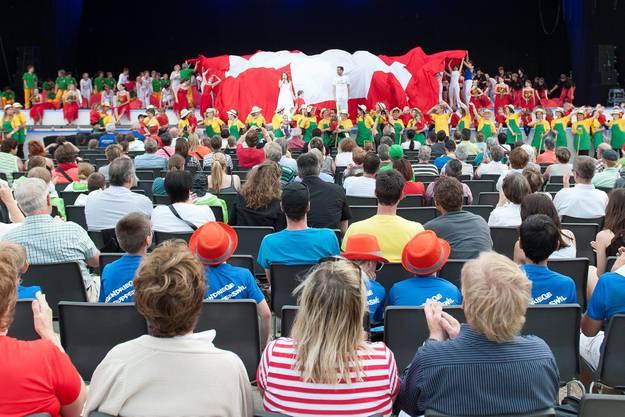 Die verschobene Eröffnungsfeier des Eidgenössischen Turnfestes in Biel.