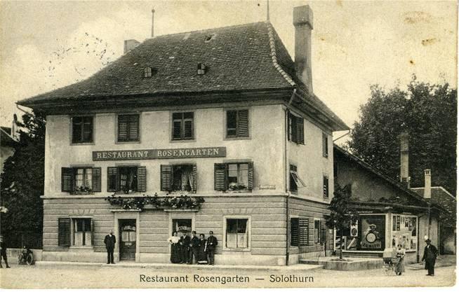 Das Restaurant Rosengarten anno 1915, wie es aber auch schon 17 Jahre vorher ausgesehen haben dürfte.