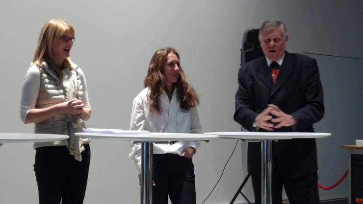 Sandra Kobelt, FDP Aarau; Ursula Uttinger, Präsidentin Datenschutzforum Schweiz, Peter Roschi, Trompeten & Werklehrer an der BEZ