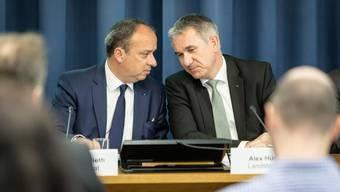 Die Aargauer Regierung nahm seit 2000 über 30 Mal Stellung zu nationalen Vorlagen. Im Bild: Markus Dieth (links) und Alex Hürzeler.