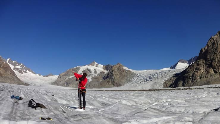 Beim Aletschgletscher wurde im September 2020 die geringste Schneehöhe seit Messbeginn vor 100 Jahren gemessen.
