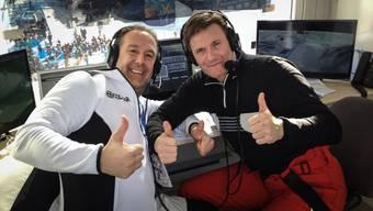 Der Oberwil-Lieler Urs Lehmann (rechts) kommentiert zusammen mit Guido Heuber Skirennen bei Eurosport.