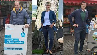 Stets auf Achse: Philipp Härri, Barbara Borer und Lukas Spirgi befinden sich mitten im Wahlkampf.