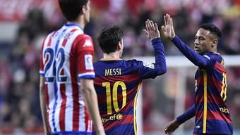 Leise Genugtuung für Neymar (rechts) und Torschütze Messi