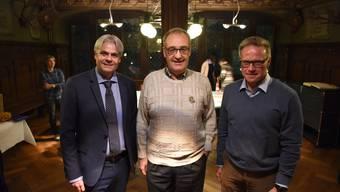Guy Parmelin (mitte) gemeinsam mit dem Liestaler Stadtpräsidenten Lukas Ott (links) und SBB-Chef Andreas Meyer