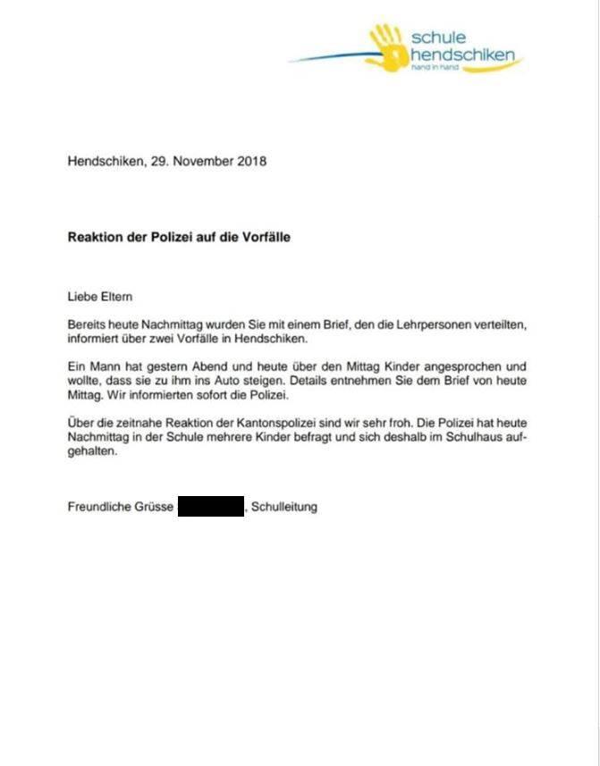 Diesen Brief schrieb die Schulleitung an die Eltern.